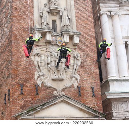 Vicenza, Italy - December 4, 2015: . Firemen During A Control At Ancient Building