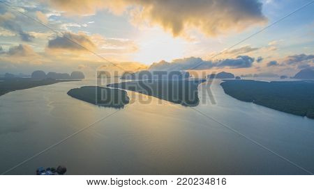 Panorama Sunrise Above The Group Of Islands In Andaman Sea