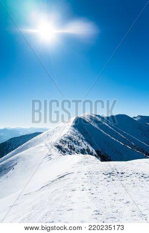 Snowy mountains with sun, Ridge of mountains, Beautiful european mountains, Symbol of winter mountains, Beautiful snowy landscape, Alpine mountain peak, Mountains in winter