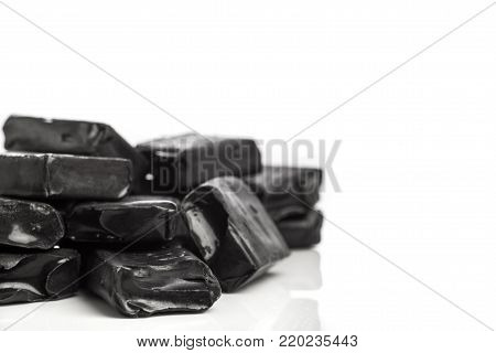 Pile of aniseed flavoured black candy chews