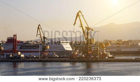 gantry crane in the dock in Heraklion on Crete, Greece
