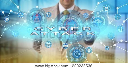 Unrecognizable white collar professional launching a cyberattack. IT concept for a computer network incident causing physical damage, cyber attack, data breach, white collar crime and hacking.