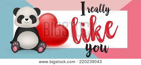 I really like you lettering in frame with cute panda and red heart. Romantic inscription can be used for greeting cards, romantic messages, invitations, posters.