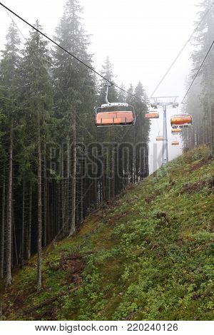 Cableway in Jasna, the largest ski resort in Central Europe, Slovakia