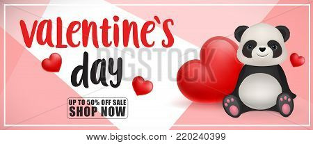 Valentines day, up to fifty percent off, shop now lettering with hearts and panda. Calligraphic inscription can be used for greeting cards, festive design, posters, banners.