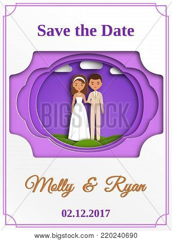Save the date card. Wedding invitation with bride and groom in paper cut style. Vector graphics. Cartoon couple newlyweds.