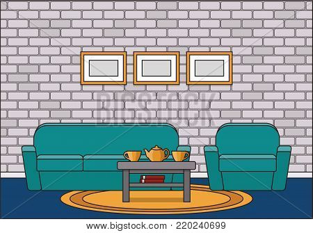 Room interior. Living room in line art flat design. House equipment. Linear vector illustration. Home space with sofa, armchair, coffee table and carpet. Animated furniture.