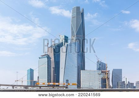 Riyadh, Saudi Arabia, KSA - December 02, 2017 new buildings being constructed in the new King Abdullah Financial District in Riyadh, skylines