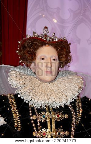 London, - United Kingdom, 08, July 2014. Madame Tussauds in London. Waxwork statue of Mary Queen of Scots,