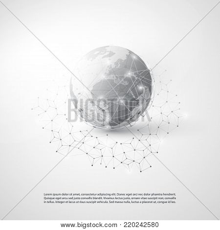 Abstract Cloud Computing and Global Network Connections Concept Design with Transparent Geometric Mesh, Earth Globe - Illustration in Editable Vector Format