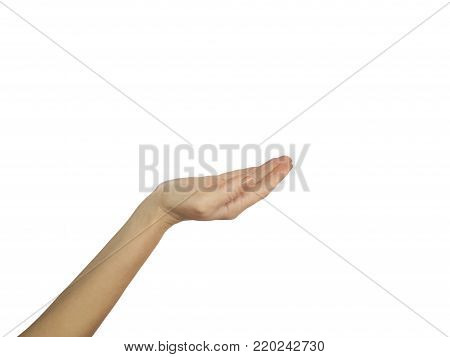 Woman hands on white background  receiving, health, medicine, help