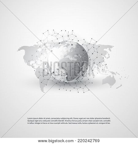 Abstract Cloud Computing and Global Network Connections Concept Design with Geometric Mesh, Earth Globe - Illustration in Editable Vector Format