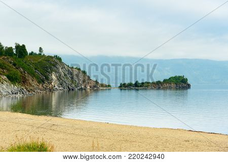 Cape Shaman On Southern Tip Of Lake Baikal. Slyudyanka. Russia