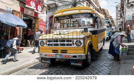 La Paz, Bolivia, September 2017: Public transport bus in a street in La Paz, Bolivia. La Paz is modern city with outdated road infrastructure, but has extensive public transport network.