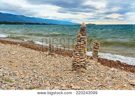 View of Cape Uyuga. Maloe More on Lake Baikal in the morning. Russia