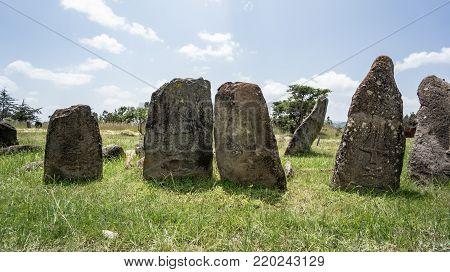 Tiya, Ethiopia - September 2017: Megalithic Tiya stone pillars, a UNESCO World Heritage Site near Addis Ababa