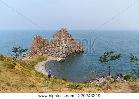 Shaman Rock In The Early Morning. Lake Baikal. Olkhon Island. Russia