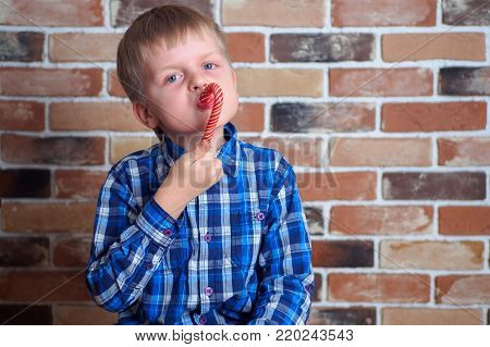 Cute little boy eating lollypop in the room