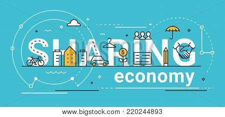 Sharing Economy Line Vector Concept Illustration. Flat Design