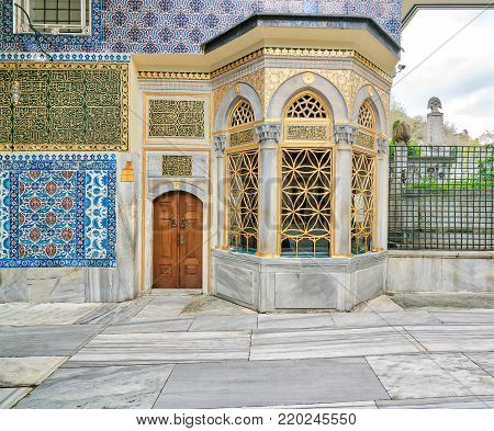 Istanbul, Turkey - April 24, 2017: Exterior view of the shrine of Hazrat Abu Ayub Ansari, Eyup Sultan MosqueIstanbul, Turkey