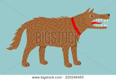 Angry evil brown dog in red collar. Vector illustration, isolated on blue background