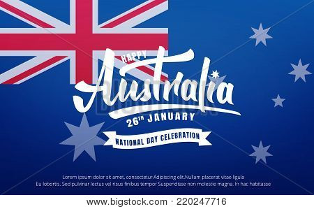 Australia Day. Banner for Australia National Day with Australia National Flag and lettering.