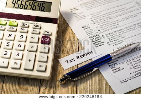 Tax reform concept with tax preparation forms for standardized deductions