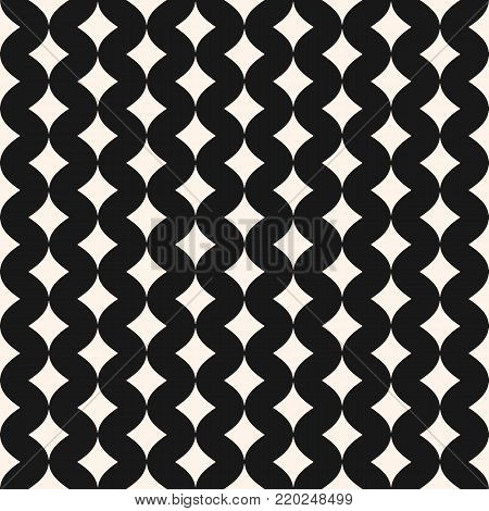 Art deco vector seamless pattern. Vintage background pattern. Simple stylish monochrome art deco geometric texture with smooth shapes, small curved rhombuses, wavy lines. Elegant abstract background. Design for decor, fabric, prints, web