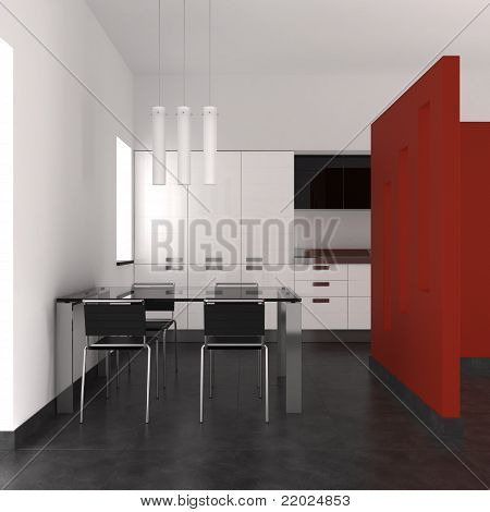 Modern Interior With Kitchen And Dining Room