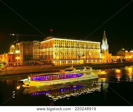 MOSCOW, RUSSIA - NOVEMBER 2017: Yacht flotilla Radisson night on the Moscow river