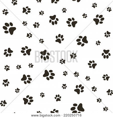 Vector seamless pattern with paw footprints of a dog (wolf), stains and smears.