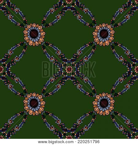 Seamless geometric vector paisley pattern. Ethnic floral motif, primitive oriental elements, rhomboid kaleidoscope layout, on green background. poster