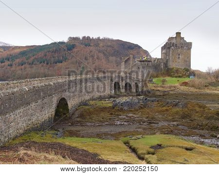 7th of February , 2017 ISLE OF SKYE, SCOTLAND - Eilan Donan Castle fortified castle built in the mid 13th century.