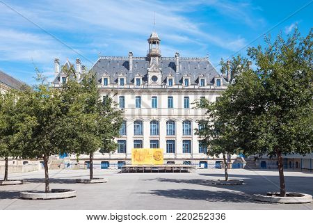 Vannes, France - August 7, 2017: The courtyard of the ancient Jules Simon college