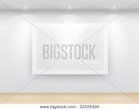 Gallery Interior with empty frame on wall. poster