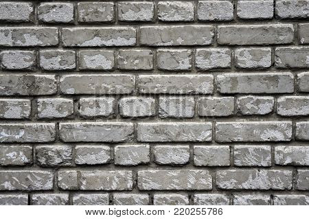 Old brick wall, texture background template, tough, worn white