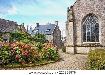 Locronan, France ,view of the apse of the St Ronan church