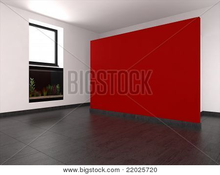 Modern Empty Room With Red Wall And Aquarium