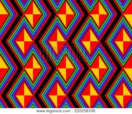 geometric abstract seamless pattern in rainbow colors, and diamond shapes.