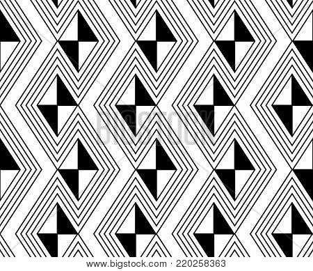 Black lines, diamonds and triangles in a seamless background design