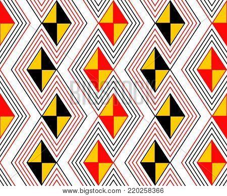 Danger color zig zag seamless geometric pattern
