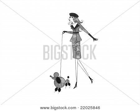 A French Lady With Poodle