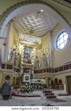 Turza Slaska, Poland, 07 October 2017: Presbytery with an altar and a veiled image of Our Lady of Fatima in the Sanctuary in Turza Slaska in Poland, the first church in Poland dedicated to Our Lady of Fatima