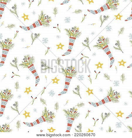 Merry Christmas and Happy New Yea set of modern seamless backgrounds with traditional symbols: Christmas trees, sock, bouquet, star, cone