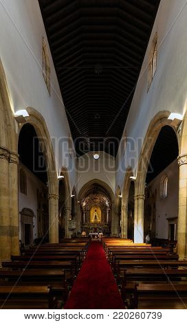 Tomar, Portugal, August 10, 2017: Interior of the 15th-century Church of St. John the Baptist, built by King Manuel I in the Manueline style.
