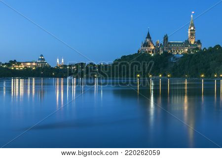 Parliament Hill and Ottawa River. Ottawa, Ontario, Canada.