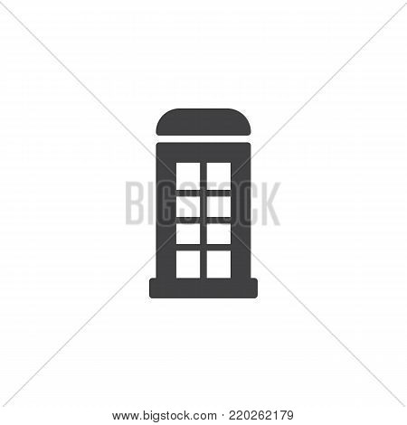 Telephone box icon vector, filled flat sign, solid pictogram isolated on white. Payphone booth symbol, logo illustration