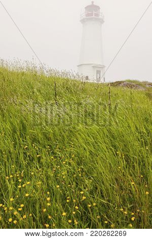 Louisbourg Lighthouse in Nova Scotia. Nova Scotia, Canada.