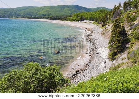 Cape Breton Highlands National Park in Nova Scotia. Ingonish Beach, Nova Scotia, Canada.