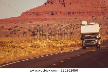 Arizona Trip by Truck Camper. Recreational Vehicle Adventure. Northern Arizona, United States of America.